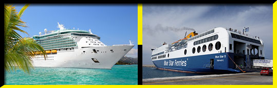Cruise ships and passenger ferries